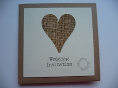 Hessian heart styled wedding invitation with a vintage brown card detail