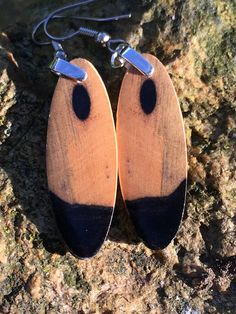 Small Black And White Ebony Reclaimed Wood Light Weight Earrings by forestlifecreations on Etsy