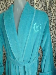 Victoria's Secret Teal Blue Long Thick Terry Spa Wrap Front Belted Robe M / L #VictoriasSecret #RobeGownSets