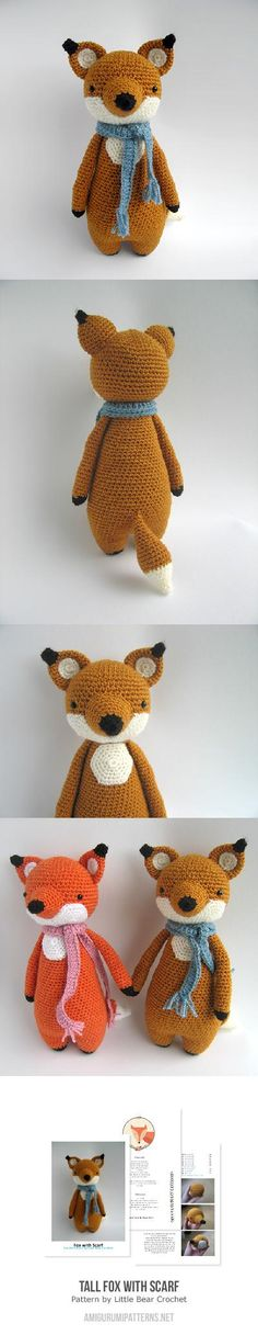 Tall Fox With Scarf Amigurumi Pattern