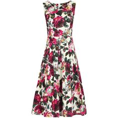Jolie Moi 50s Floral Pleated Dress , Multi ($48) ❤ liked on Polyvore featuring dresses, multi, cotton maxi dress, floral print dress, pleated maxi dress, white floral dress and midi dress
