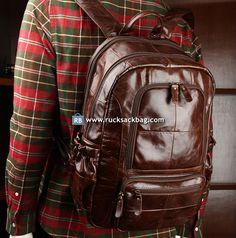 Large Leather Rucksack Big Bag Trave Backpack Bag Color: Brown Material: leather Size: cm Weight: kg Closure: zipper Pocket: mobile telephone pocket, zipper pocket Fit for 14 inch laptop. How to Wash a Backpack Rucksack Bag, Backpack Bags, Leather Men, Black Leather, Leather Jacket, Canvas Travel Bag, Hiking Bag, Brown Leather Backpack, Big Bags