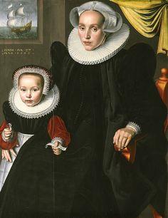 1602 Jan Клас (голландский, активное 1593-1618). Портрет Лисбет Walichsdr и ее дочь Элизабет, 1602