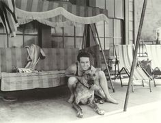 Harold Lloyd and his Great Dane, Prince, in Santa Monica, 1927.
