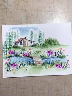 Art Impressions Stamps, Handmade Card Making, Watercolor Cards, Barns, Cardmaking, Scenery, Houses, Scrapbook, Ceramics