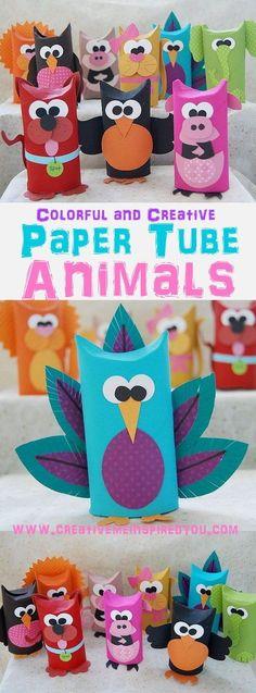 Bricolages d'animaux réalisés avec des tubes en carton