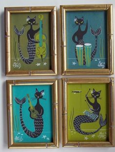 EL GATO GOMEZ 4 PAINTINGS RETRO 1960S KITSCHY MERMAID TIKI BAR HULA GIRL CATS #Modernism