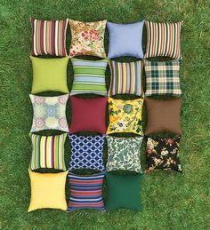 Weather-Resistant Outdoor Classic Lumbar Pillow in Green Stripe