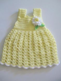 Crochet Baby Dress - sadly, only a picture, no instructions or hint of where to find it! ): {Hate it when that happens! Crochet Baby Dress Free Pattern, Baby Girl Crochet, Crochet Baby Clothes, Love Crochet, Crochet For Kids, Beautiful Crochet, Knit Crochet, Crochet Patterns, Baby Dress Clothes