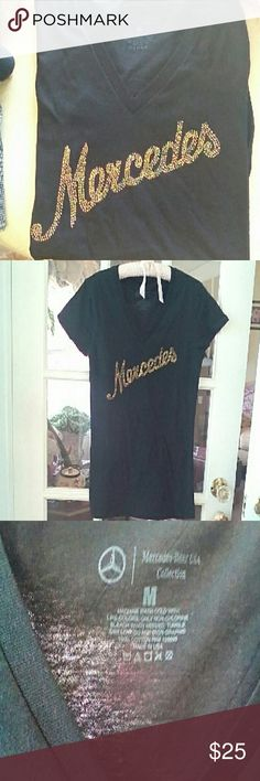 """MERCEDES BENZ RHINESTONE SCRIPT T-SHIRT Genuine MB Lifestyle Collection from my Mercedes gift shop. Size Medium. 17"""" from armpit to armpit. 27"""" in length. Black with goldish rhinestones. Smoke and pet free home. Brand New. Tops Tees - Short Sleeve"""