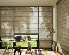 A calm and tranquil office is achieved with these simple yet sophisticated Roman Shades by Hunter Douglas. They are available through your Atlanta Gallery Showroom, Georgia Blinds and Interiors. www.ga-blinds.com