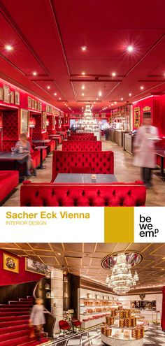 The guideline for the redesign of Sacher Eck was laid down in close coordination with the owner family. The classic Sacherhotels colours – wine-red, gold and black – along typical Viennese materials like velvet, brass, dark wood and black and white marble were matched with striking design elements such as the monumental chandelier to stimulate the discourse between old and new. Images: © BWM Architekten / Christoph Panzer & Severin Wurnig Black And White Marble, Dark Wood, Red Gold, Old And New, Design Elements, Chandelier, Velvet, Brass, Colours