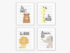 Printable graphic Be sweet bear Be proud giraffe Be brave lion