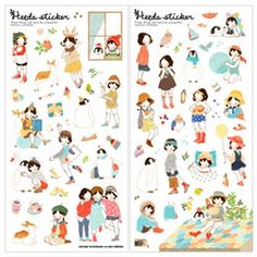 Korean Stickers & Diary Sticker, Heeda 6$, Watercolor, Korean Stationery | morecozymorecozy gift wrap