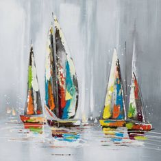 Hand Painted Canvas Painting Colorful Sailboats I by New Life Collection Sailboat Art, Sailboat Painting, Hand Painting Art, Painting Prints, Pour Painting, Painting Canvas, Abstract Canvas, Canvas Art, Hand Painted Canvas