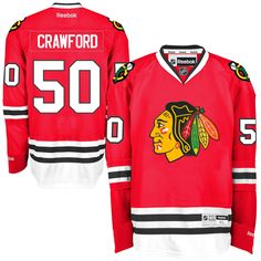 Reebok Corey Crawford Chicago Blackhawks Premier Player Jersey - Red - $135.99