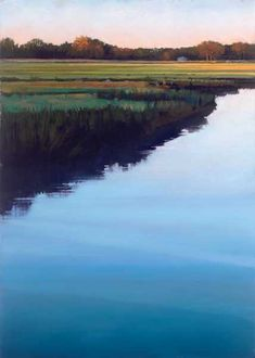 """Serenity (pastel on Pastelmat, 27×19) by Liz Haywood-Sullivan: """"When you pick up a stick of pastel, you're holding light and color in your fingertips."""" Click the image to learn about her painting process. ~ch #landscape #water #painting"""