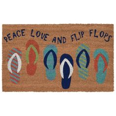 Our summer fun Peace, Love and Flip Flops Natura Coir Door mat will add a lively and bright coastal vibe to your doorstep. Best Friend Love, Friends In Love, Outdoor Doors, Indoor Outdoor, Coir Doormat, Home Decor Shops, Season Colors, Mild Soap, Peace And Love