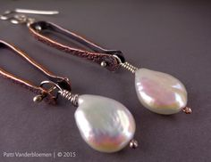 Mixed Metal Solid Copper, Sterling Silver and Creamy White Freshwater | Handcrafted Jewelry by Patti Vanderbloemen