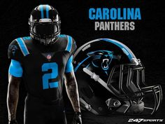 Some football fans love black jerseys, while others hate them. If you're the latter, these uniform designs may just change your mind. Nfl Fans, Football Fans, Football Stuff, Football Uniforms, Nfl Jerseys, Ohio State Helmet, 32 Nfl Teams, Uniform Design, Carolina Panthers