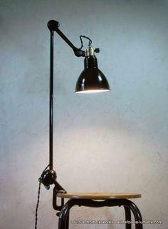 Lampe ajustable Gras 201 |   Authentique lampe ajustable Gras brevetée S.G.D.G. modèle 201 semi-fixe pour table à dessin, créée...