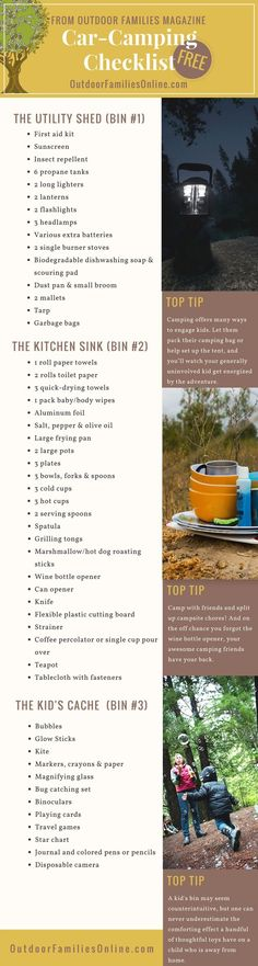 Don't ever forget anything again. Print Outdoor Families Magazine's free car camping checklist. Let us help you get your camping bins organized so you can get outside with the family more!