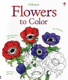 Flowers to Color: Beautiful illustrations of flowers with a color guide on the previous page. Descriptions of flower parts, petals, stamens, buds.