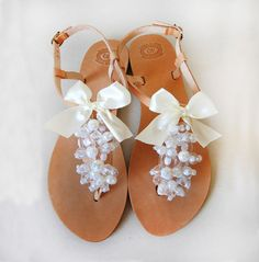 Bridal Shoes Handmade Leather Sandals decorated with door MyMarmade