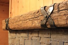 Criss Cross Mantel Straps - rustic - Fireplace Mantels - Other Metro - Ponderosa Forge and Ironworks Rustic Fireplace Mantle, Fireplace Beam, Rustic Fireplaces, Home Fireplace, Fireplace Remodel, Indoor Fireplaces, Farmhouse Mantel, Stone Fireplaces, Farmhouse Style