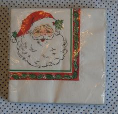 Vintage Santa Face Christmas Napkins Beverage Sized