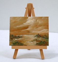 Ocean and Clouds, 3x4 original oil painting, impressionism by valdasfineart on Etsy