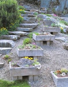 planters for a slope - could easily be made with reclaimed materials!