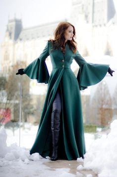Long Coat Maxi Large Sleeves Winter Pleated Jacket For Women | Etsy Stylish Dress Designs, Stylish Dresses, Casual Dresses, Casual Outfits, Dress Outfits, Fashion Dresses, Dress Up, Coat Dress, Maxi Coat