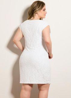 33b273944 Vestido Tubinho Renda Branco Plus Size - Quintess