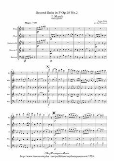 Holst: Suite In F Op. 28 (complete: All 4 Mvts) - Wind Quintet By Gustav Holst Bassoon, Oboe, Clarinet, Gustav Holst, Morris Dancing, Digital Sheet Music, Music Notes, Scores, Flute