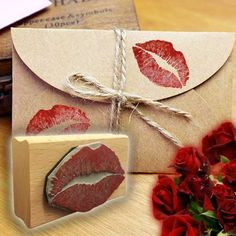 Seal it with a kiss this #ValentinesDay.  #RubberStamps #Etsy #MailArt
