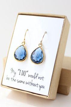 Navy Blue / Gold Teardrop Earrings - Montana Blue Teardrop Earrings - Blue Bridesmaid Earrings - Bridesmaid Gift Jewelry - EB1