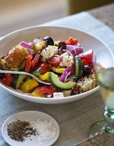 Ina Garten's Greek Panzanella....Best. Salad. Ever. (so Sarah says!)