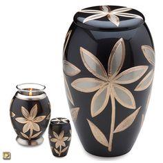 Majestic Lilies Brass Cremation Urn - Urns Northwest. Engraved lily flowers adorn this elegant brass memorial urn.