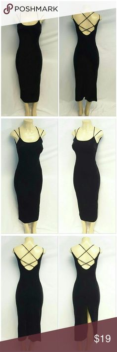 "5 * 7 * 9 Valour Stretchy Crisscross Back Dress XS 5 * 7 * 9, Valour Stretchy Crisscross Back Black Dress, size XS See Measurements, fully lined, back center hem 19 1/2"" slit, soft material, 98% polyester, 10% spandex, approximate measurements: 48"" length shoulder to hem, 15"" bust laying flat. ADD TO A BUNDLE! 20% BUNDLE DISCOUNT 5 7 9 Dresses"