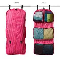 This unique garment bag has packing cubes on one side and the typical zip down compartment on the other. Even better? It folds over itself to fit right into a small suitcase. Friends don't let friends travel without this garment travel organizer!