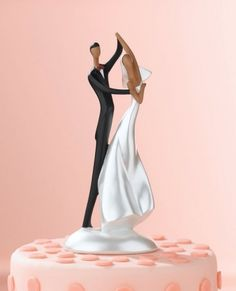 African-American Dancing Couple Wedding Cake Topper Figurine