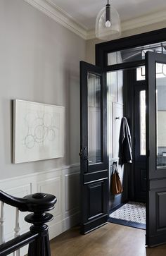 Black Interior Doors - Dramatic Or Conventional? When you need a truly dramatic, dramatic look, nothing is more dramatic than the use of black interior doors. Black doors give you the kind of feel that . Elegant Home Decor, Elegant Homes, Cheap Home Decor, Black Interior Doors, Black Doors, Interior Paint, Black And White Hallway, Interior Decorating, Black White