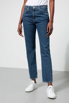 Seattle jeans have a comfort fit with a high waist, fitted seat and loose thighs. They are slightly tapered from mid- thigh and down. Made of a non- stretc Classic Wardrobe, My Wardrobe, Wide Leg Jeans, Cropped Jeans, Weekday Jeans, Blue Jean Outfits, Latest Jeans, Tapered Jeans, Vintage Jeans