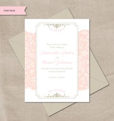 Vintage pink lace save the date card.
