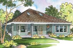 This cottage home plan has a compact floor plan with a central fireplace and vaulted ceilings through-out. The large kitchen includes a pantry and is open to the dining/living room that includes skyli