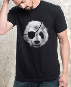 db6f57fc This men's graphic tee features a detailed screen print of a panda bear  wearing an eye