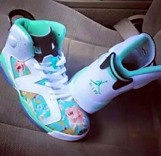 sports shoes 32f35 64c3e Floral print tiffany blue jordans Custom Shoes, Custom Jordan Shoes, Custom  Sneakers, Cute