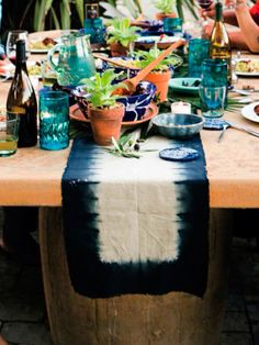 Indigo tie dye table runner
