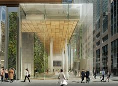 As currently proposed, supertall tower One Vanderbilt will rise to at its peak—to become the city's second-tallest building. But its top wasn't the focus of today's Landmarks. Architecture Office, Architecture Design, Ny Hospital, Glass Facades, Green Building, Entrance, Skyscraper, How To Plan, Office Lobby